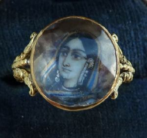 Stunning georgian 18ct 18k gold miniature portrait of an indian woman ring vintage antique c.1827